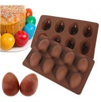 Силиконовая форма на 8 ячеек в форме яйца